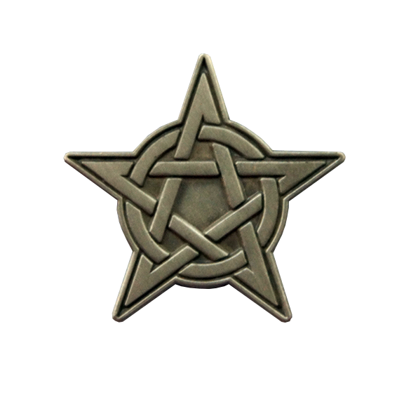 "A pentacle is an amulet used in magical evocation, generally made of parchment, paper or metal (although it can be of other materials), on which the symbol of a spirit or energy being evoked is drawn. 1"" tall die struck pin. silver metal with antique finish."