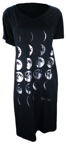 Phases of the Moon - Night Shirt Dress - Black