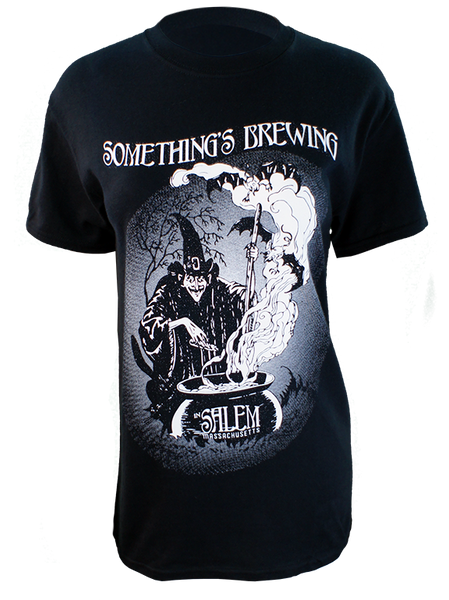 Can you smell what the hag is cooking? Something's brewing in Salem, MA. Warn the world with this 16 ounce 100% Preshrunk Cotton T-Shirt, hand screen printed with plastisol ink. (the shirt in photo is a size small on a ladies mannequin)