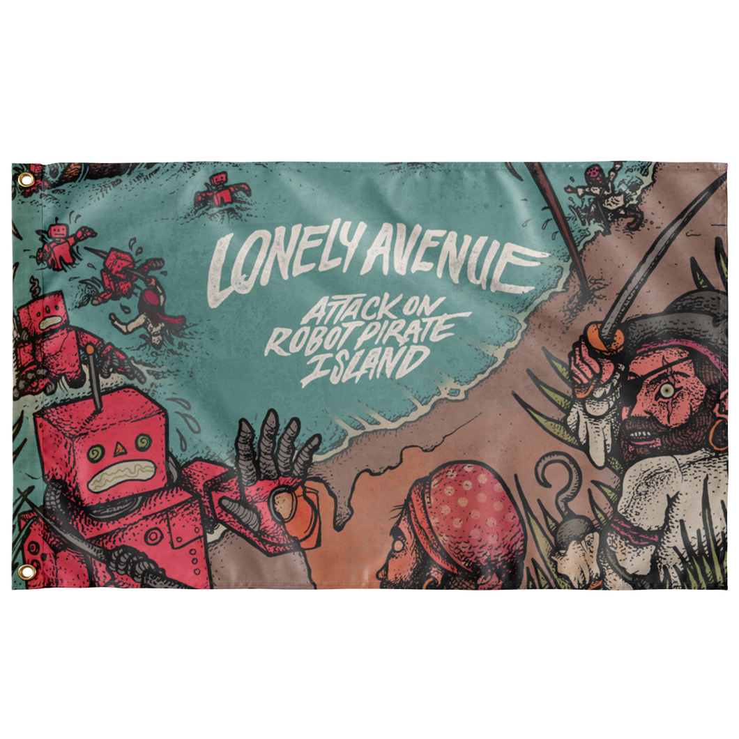 Lonely Avenue - Attack on Robot Pirate Island Flag