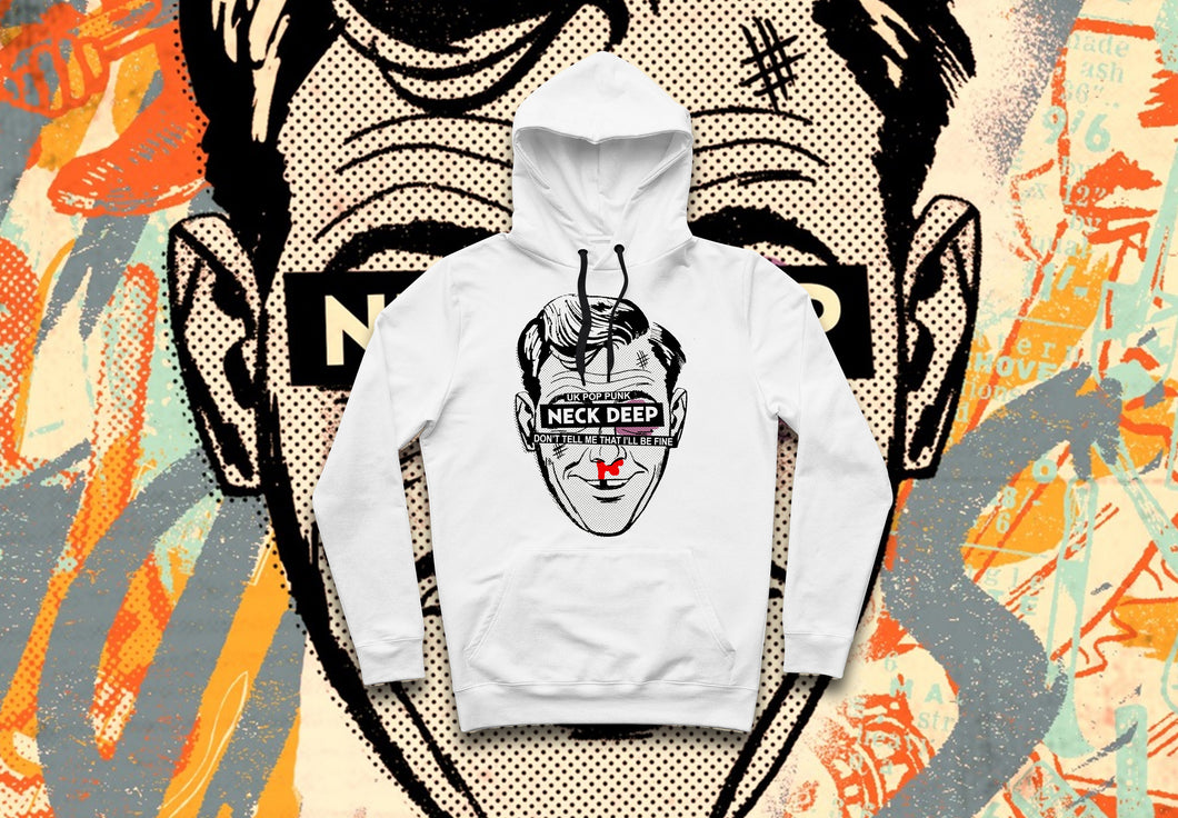Neck Deep - Ned Head White Hoodie