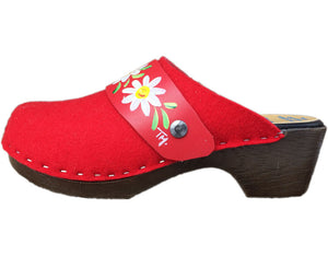 Flexible Felt Tessa Clogs with Hand Painted Snap Strap, made in CO