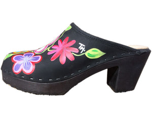 High Heel Hand Painted Tessa Clog made in Minturn, Colorado