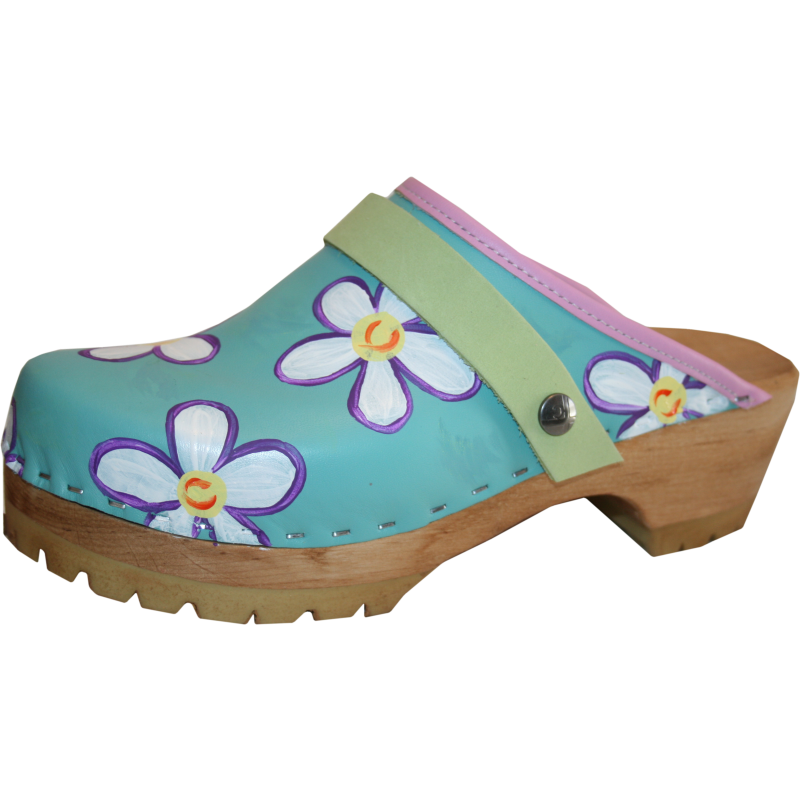 Aqua Mountain Ava hand painted Tessa clogs
