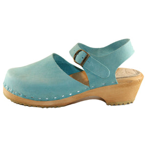 Aqua Distressed Closed Toe Sandal on traditional heel