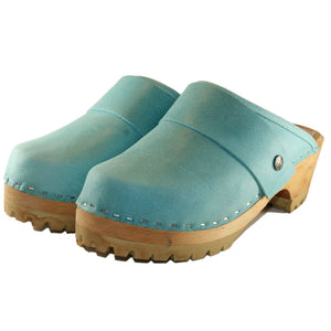 Aqua Leather Mountain Clog with wide snap strap