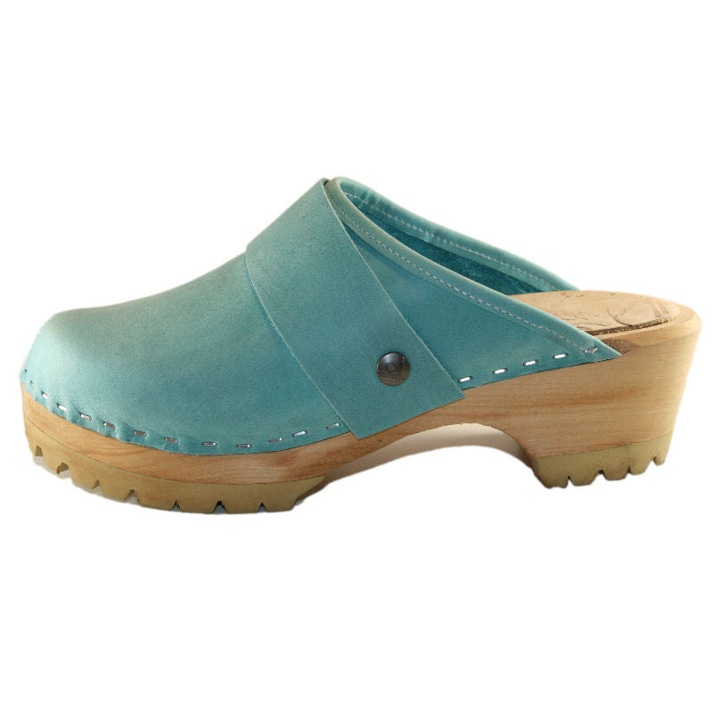 Mountain Sole Clog in aqua leather with wide snap strap