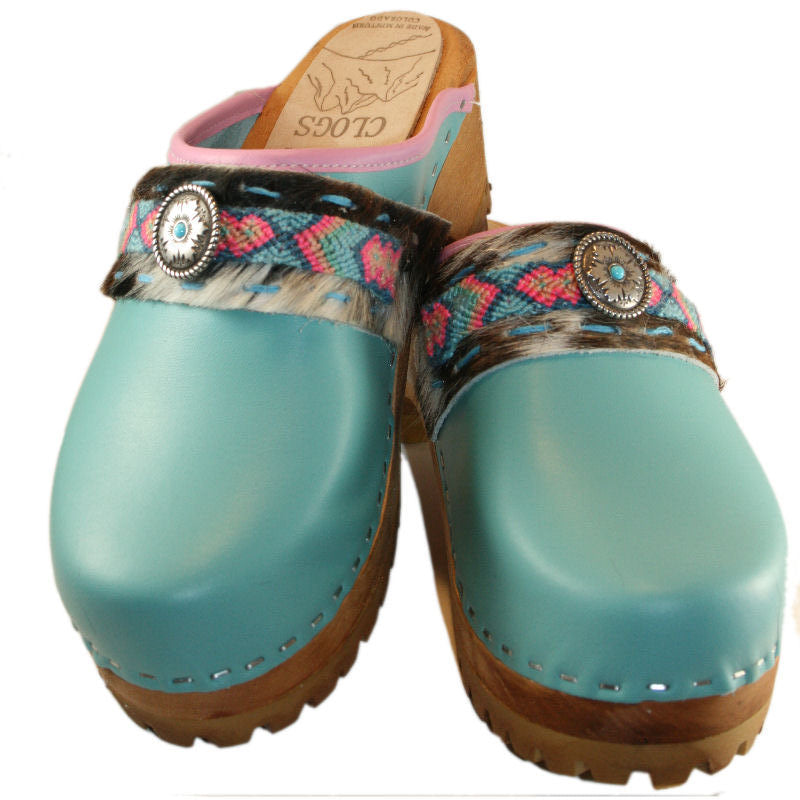 Aqua Leather Mountain Clog with Limited Edition Willow Flower Boho Strap