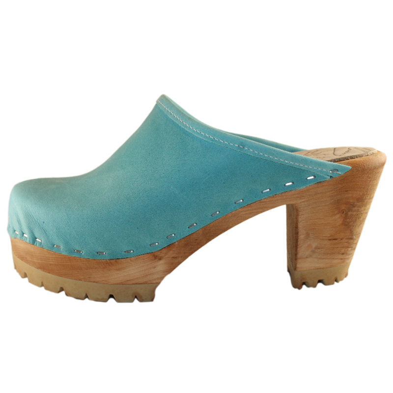 High Heel Mountain Sole in Aqua distressed Leather Plain