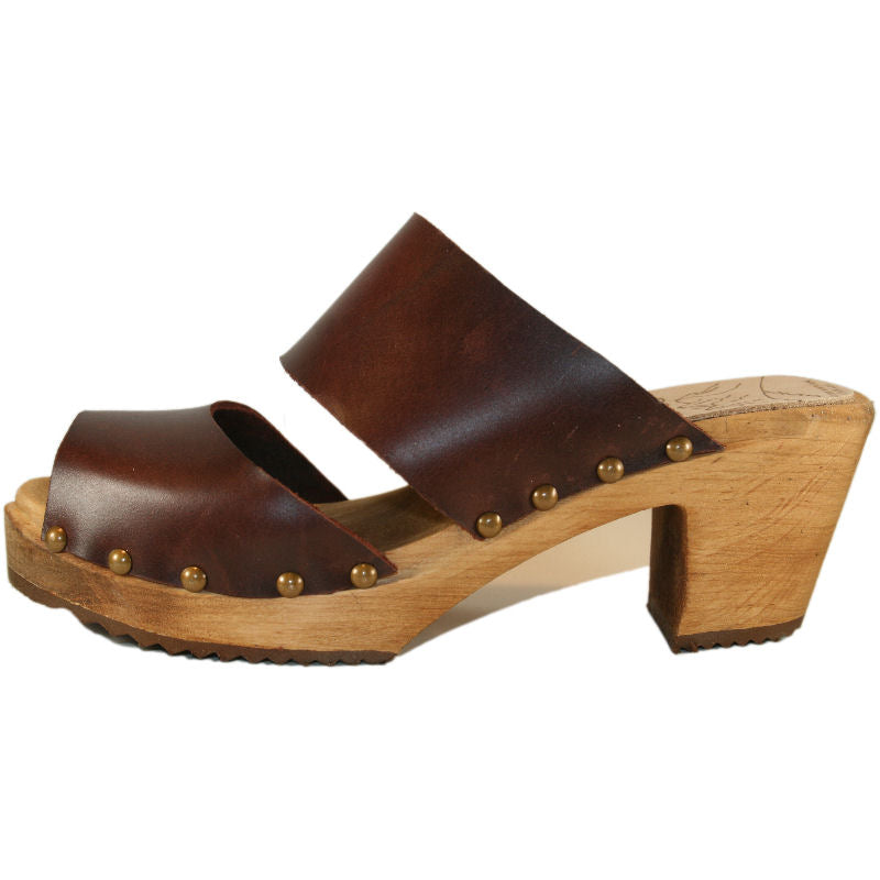 High Heel Bittersweet Vegetable Tanned Leather Two Strap Sandal