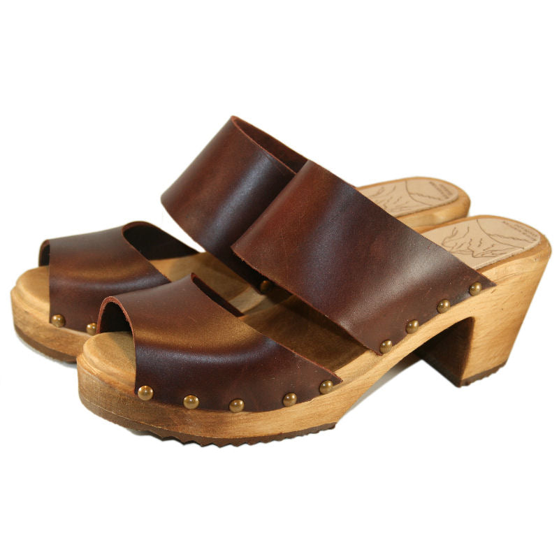 Two Strap High Heel Sandal in Bittersweet Vegetable Tanned Leather