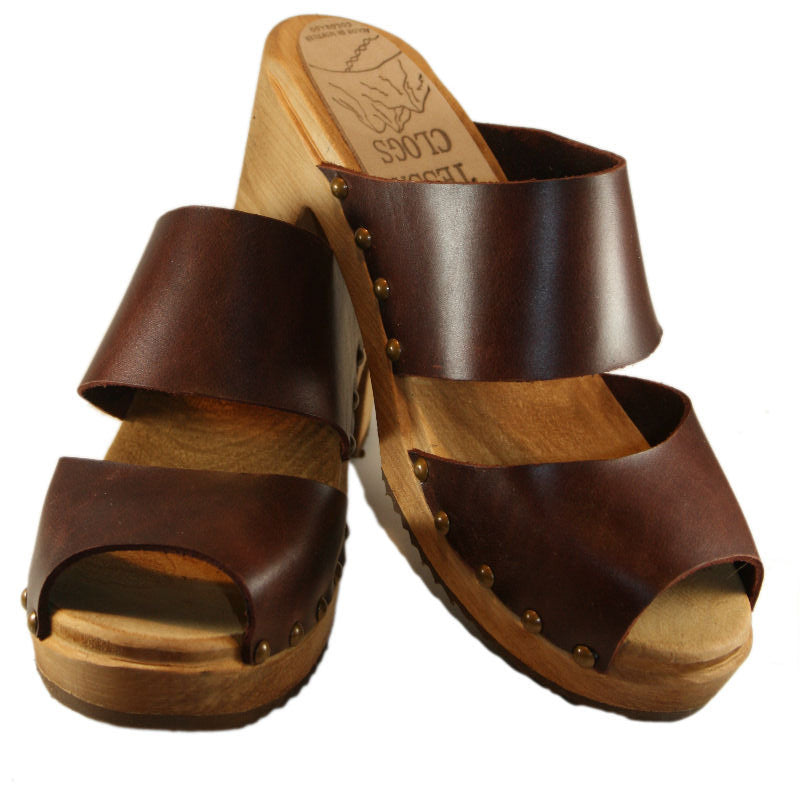High Heel Two Strap Sandal in Vegetable Tanned Leather