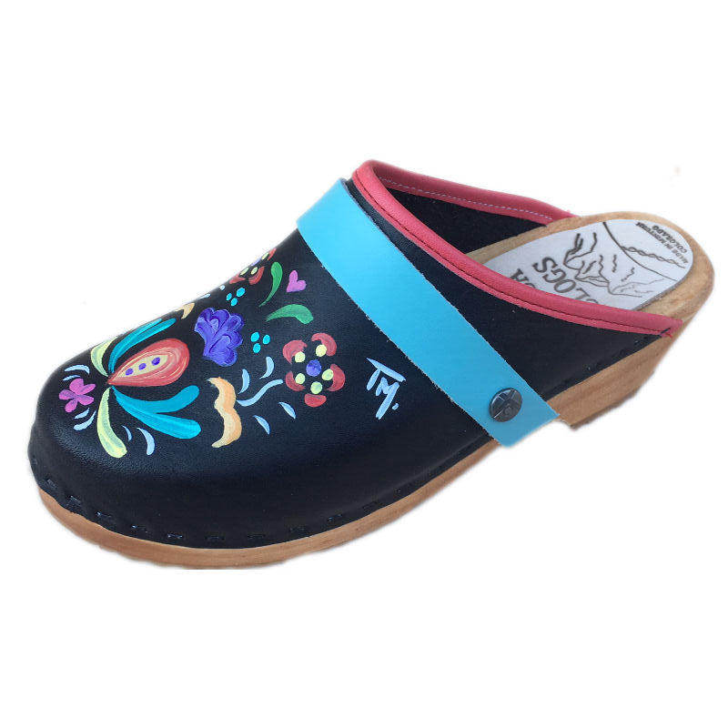 Traditional Heel Hand Painted Astrid with Light Turquoise Strap