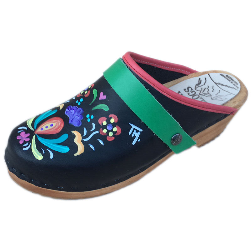Traditional Heel Hand Painted Astrid with Grass Green Strap