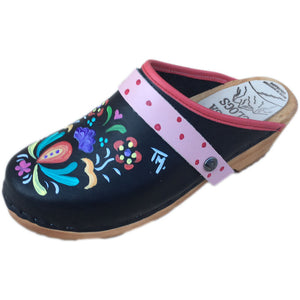 Traditional Heel Hand Painted Astrid with Light Pink Strap