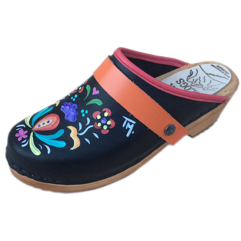 Traditional Heel Hand Painted Astrid with Orange  Strap