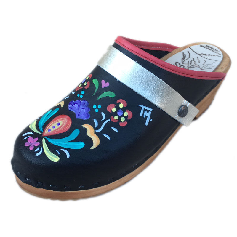 Traditional Heel Hand Painted Astrid with Platinum  Strap