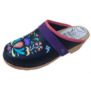 Traditional Heel Hand Painted Astrid with Purple  Strap