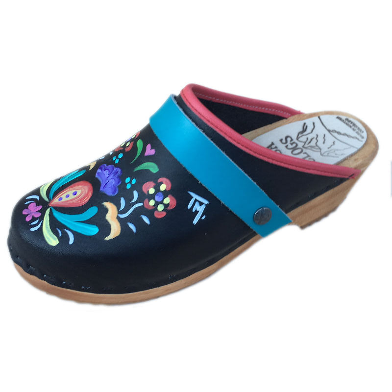 Traditional Heel Hand Painted Astrid with Teal Strap
