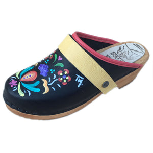 Traditional Heel Hand Painted Astrid with Yellow Lizzard  Strap