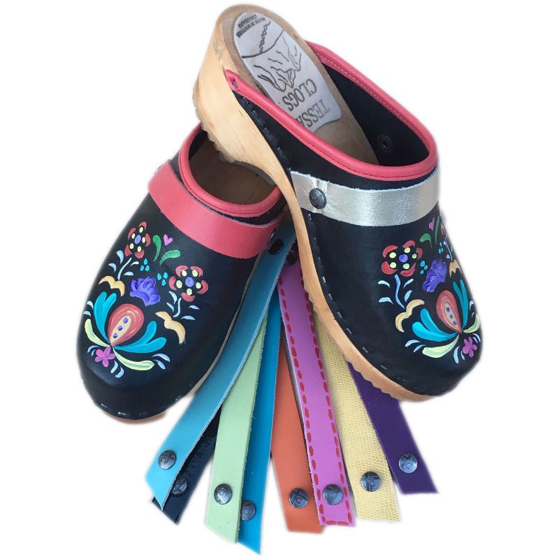 Traditional Heel Hand Painted Astrid Design with Three Straps