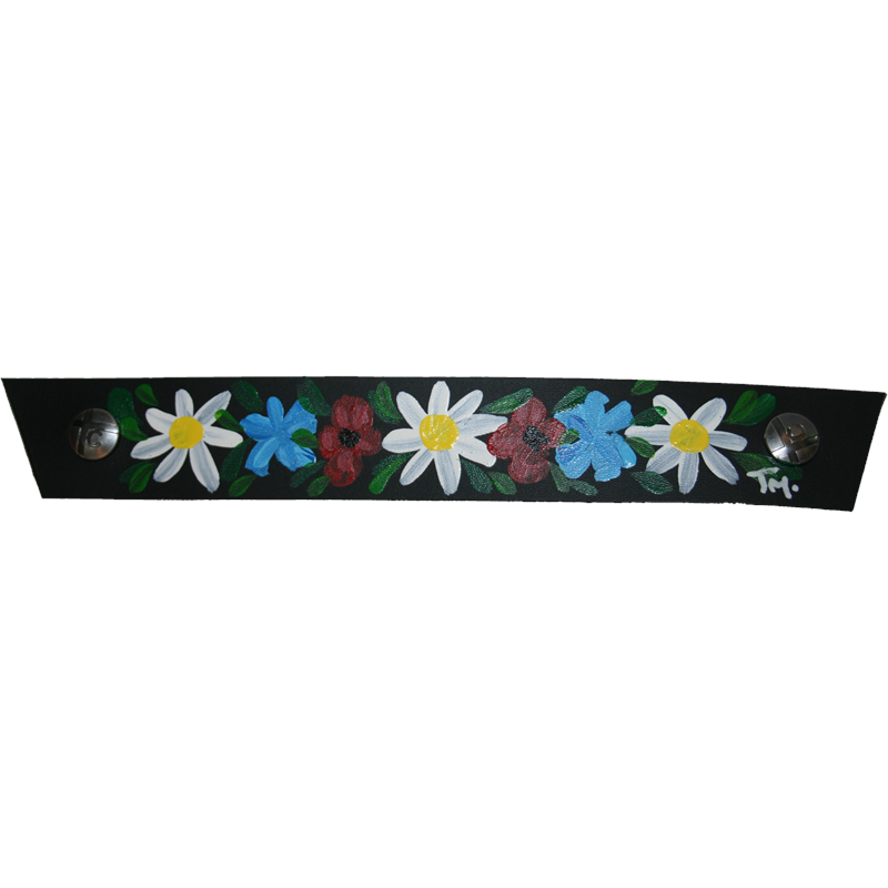 Black Flowerband Snap Strap