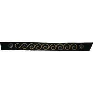 Narrow Black Oil with Hand Painted Gold Swirl Snap Strap
