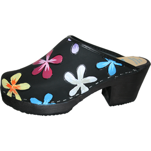 Tessa Clogs in our High Heel Black Oil Hand Painted Annika