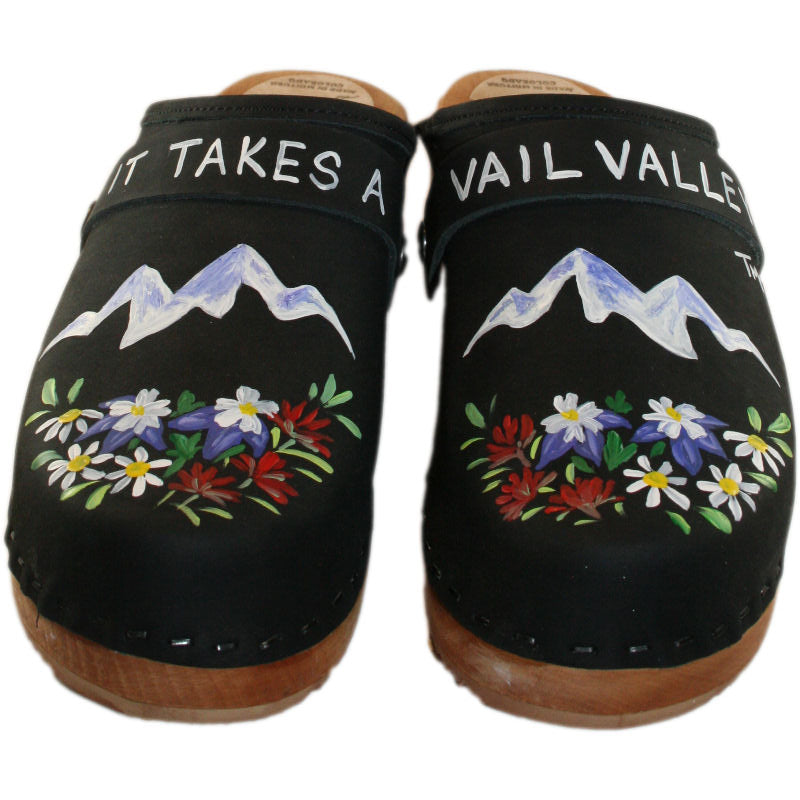Black Oil Traditional Heel Clogs with It takes a Vail Valley Design