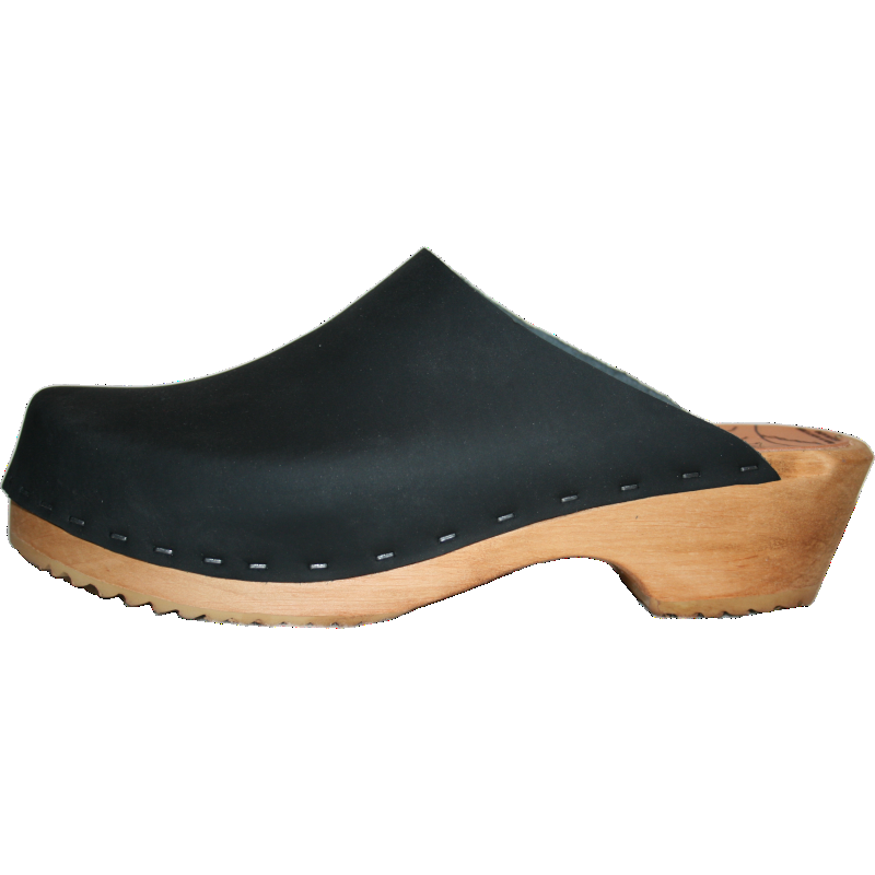black oil clog, traditional heel swedish clog made in Colorado