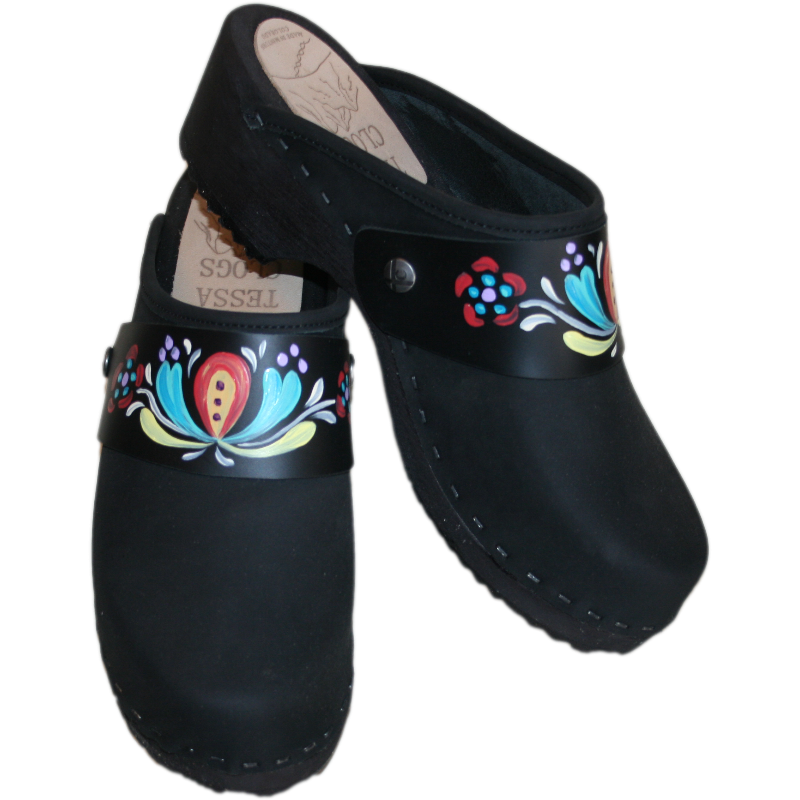 Traditional Heel Black Oil with Handpainted Strap