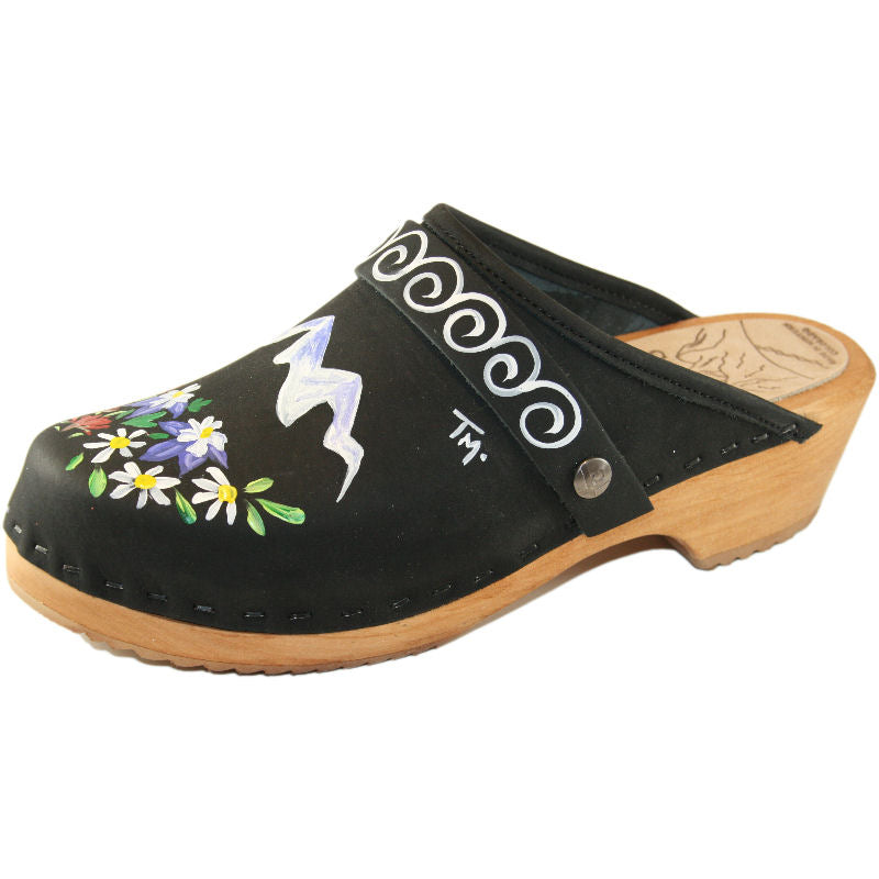 Traditional Heel Black Oil Clog with It takes a Vail Valley design