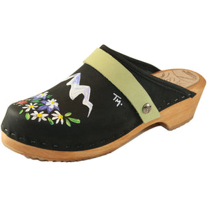 Traditional Heel Black Oil Clog with Hand Painted It takes a Vail Valley design