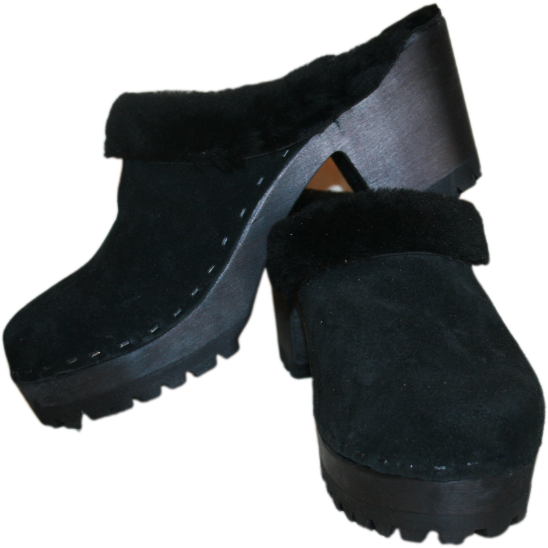 High Heel Mountain Shearling Lined Clogs in Black Suede With Black Shearling