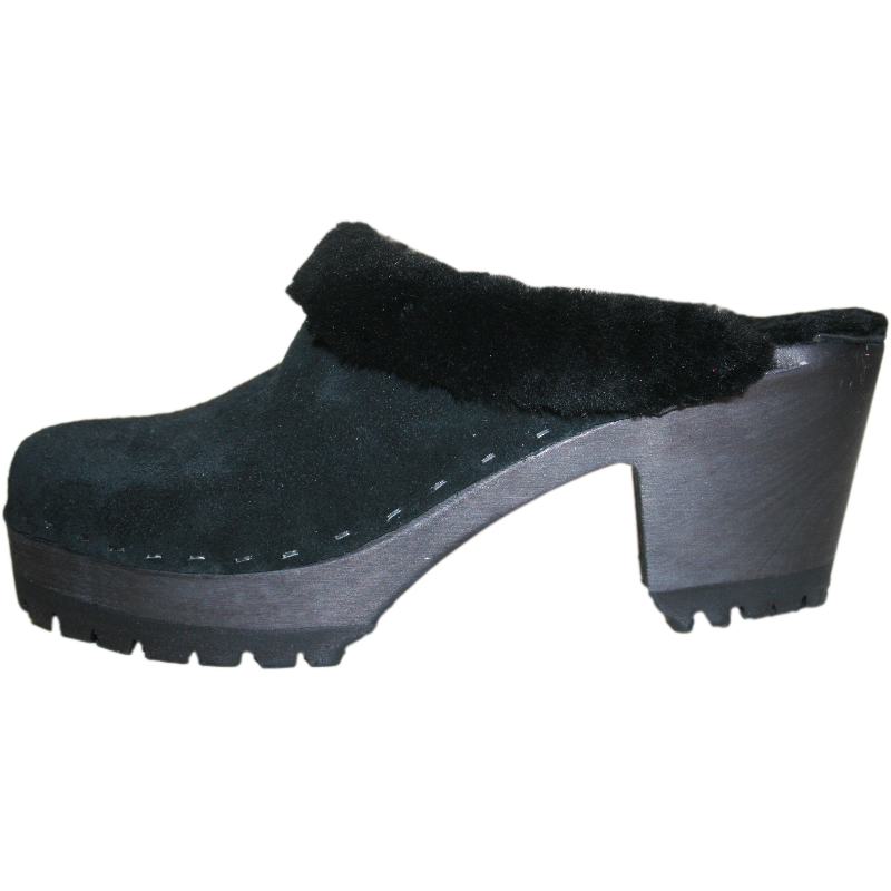 Black Suede Shearling Lined High Heel Mountain Tessa Clogs