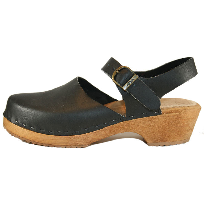 Traditional Heel Moa Sandal Black with Natural Stain