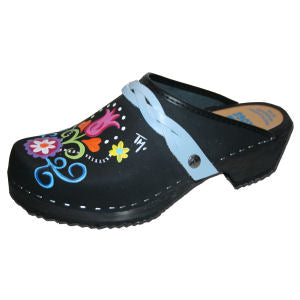 Hand Painted Clog with braided Strap