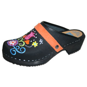black hand painted clogs