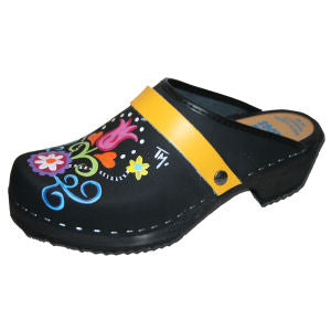 Hand painted clogs with interchangeable straps