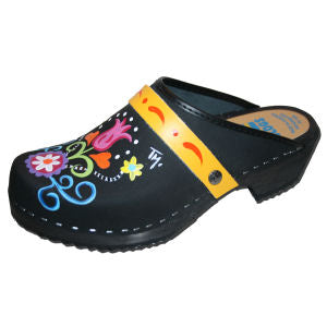 Black Oil Tanned Leather Clogs with Hand Painted Rebecca Design