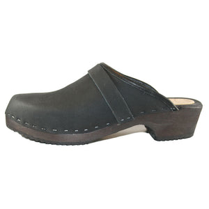 Men's Black Oil Tanned Leather Traditional Heel Clog