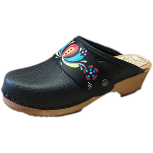 Traditional Heel Black Pebbled Leather with Handpainted Strap