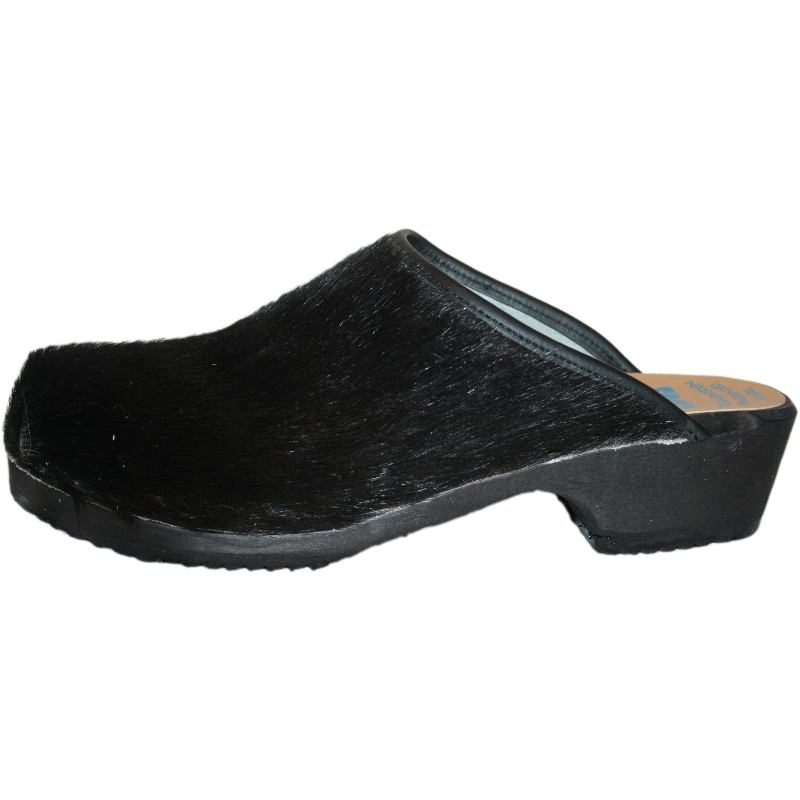 Tessa Traditional Heel Black Cow Clog