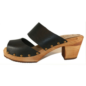 Black Leather Two Strap Sandal High Heel