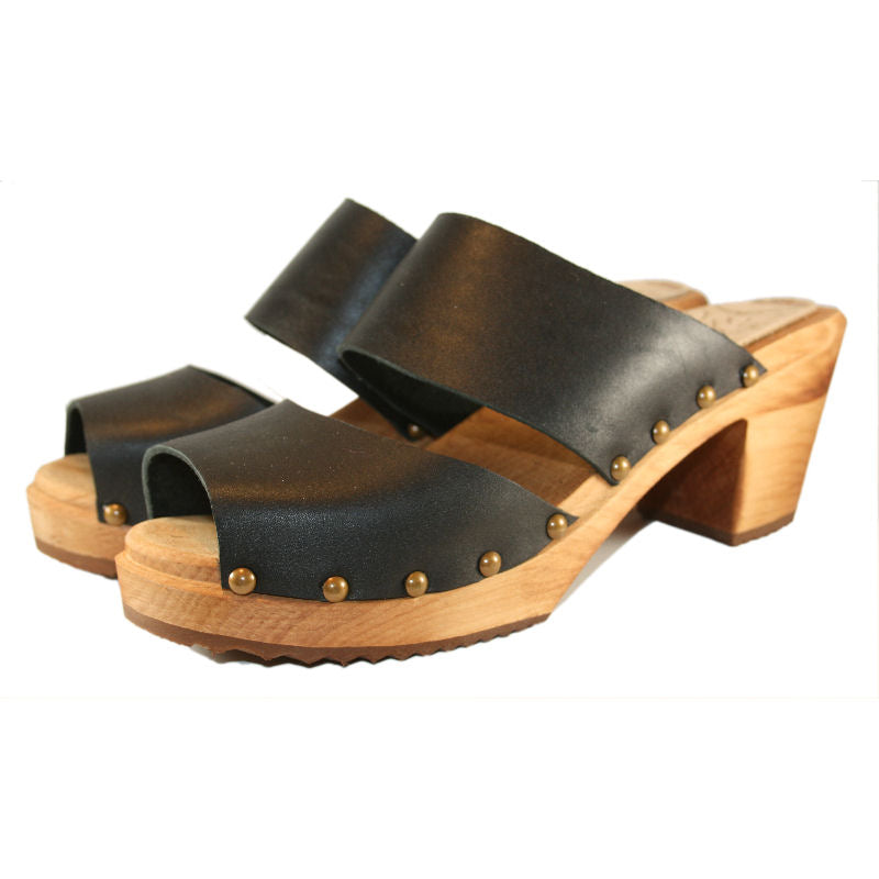 High Heel Two Strap Sandal in Black Leather finished with Decorative Nails