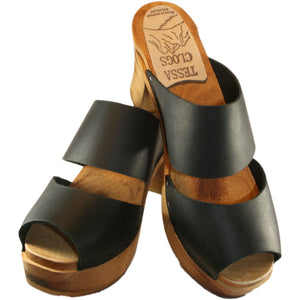 Ultimate High Black Leather Sandal