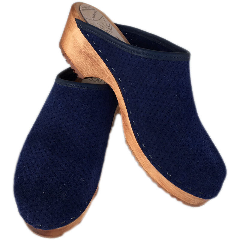 Traditional Heel Blue Perforated Suede Clog