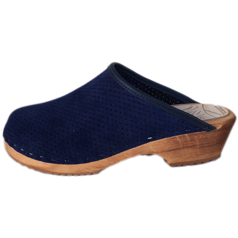 Blue Perforated Suede Traditional Heel Tessa Clogs
