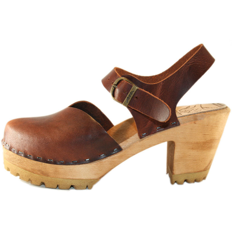 Bourbon Leather High Heel Mountain Moa  Sandal