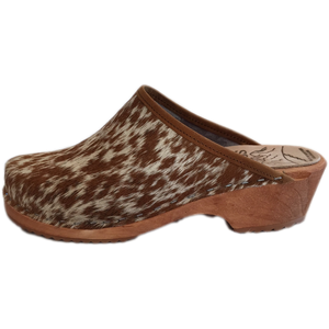 Traditional Heel Pony Cow Hide Tessa Clogs
